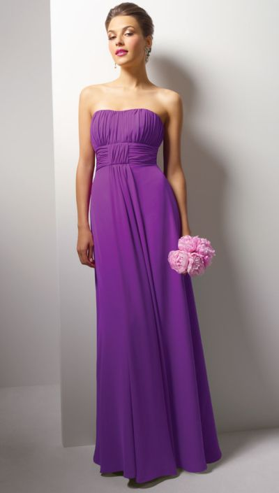 Alfred Angelo Long Chiffon Bridesmaid Dress with Ruching 7093 ...