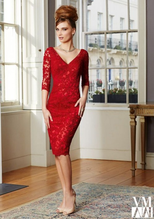 6dc598ab5f VM Collection 71035 Lace Knee Length MOB Dress  French Novelty