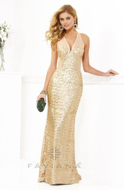 Faviana 7104 Sequin And Mesh Formal Dress French Novelty