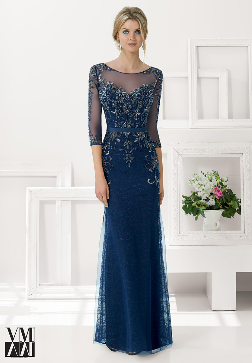 VM Collection 71134 Beaded Lace MOB Dress: French Novelty
