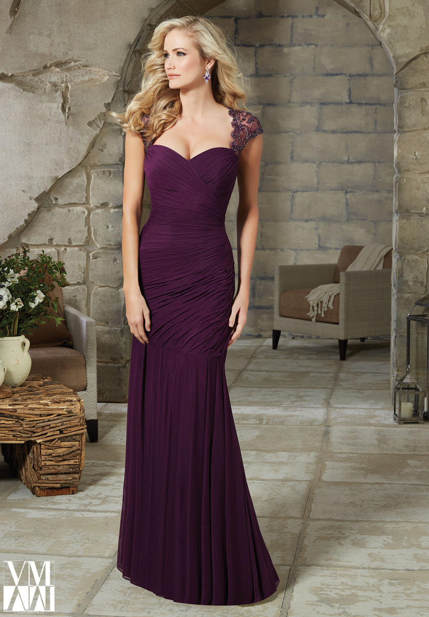 VM Collection 71115 One Shoulder Lace MOB Dress: French
