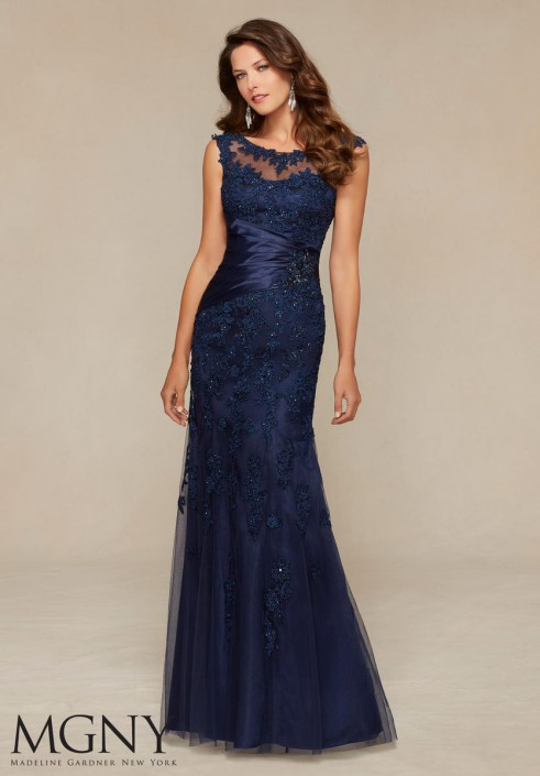 MGNY by Mori Lee 71304 Beaded Lace Formal Gown: French Novelty