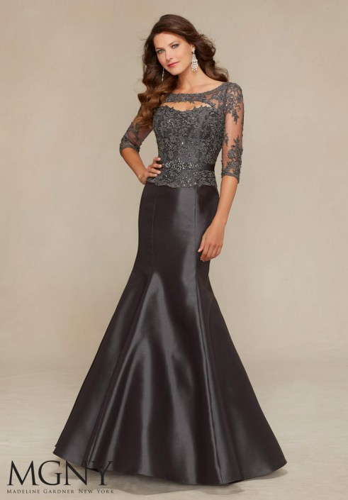 MGNY by Mori Lee 71316 Satin Mermaid Gown with Lace: French Novelty