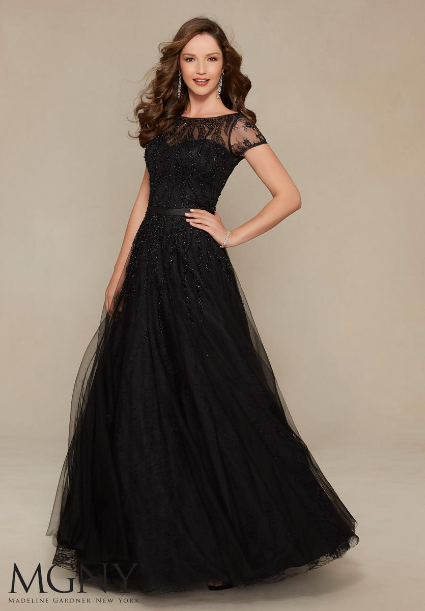 Mgny By Mori Lee 71328 Short Sleeve Lace Evening Gown French Novelty