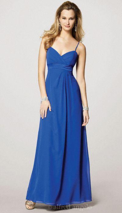Alfred Angelo Long Spaghetti Strap Chiffon Bridesmaid Dress 7139