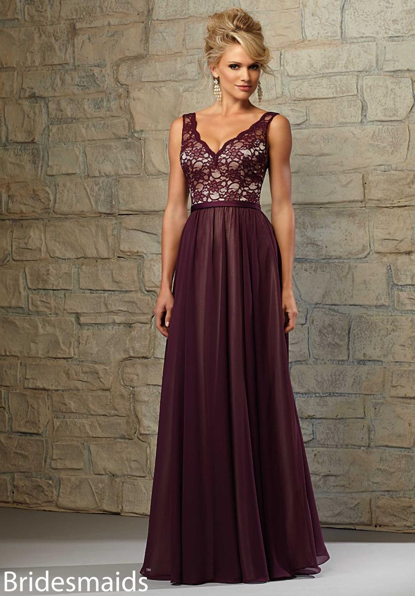 Mori lee bridesmaids 714 lace and chiffon long dress french novelty