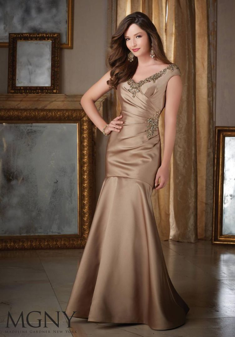 Mgny By Mori Lee 71411 Beaded Satin Mob Gown French Novelty