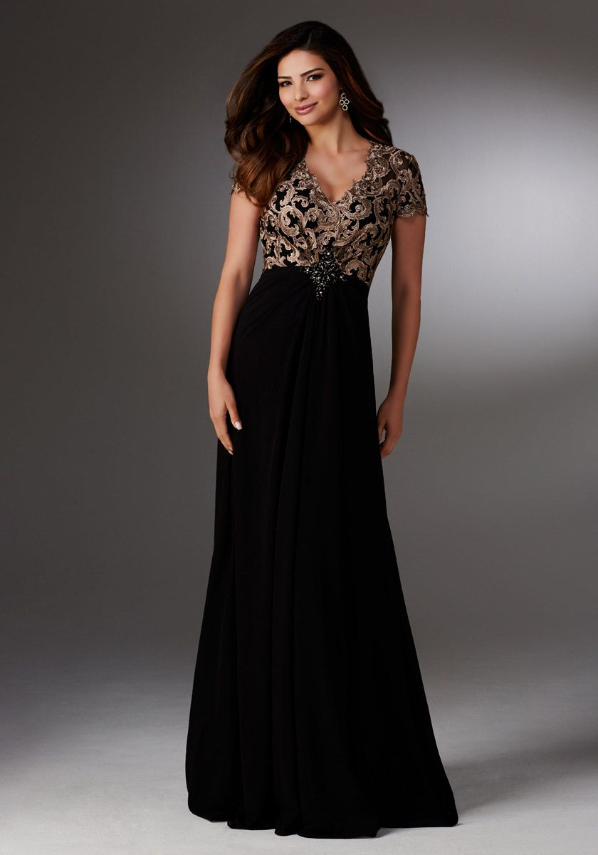 Mgny By Morilee 71503 Chiffon Gown With Beaded Embroidery