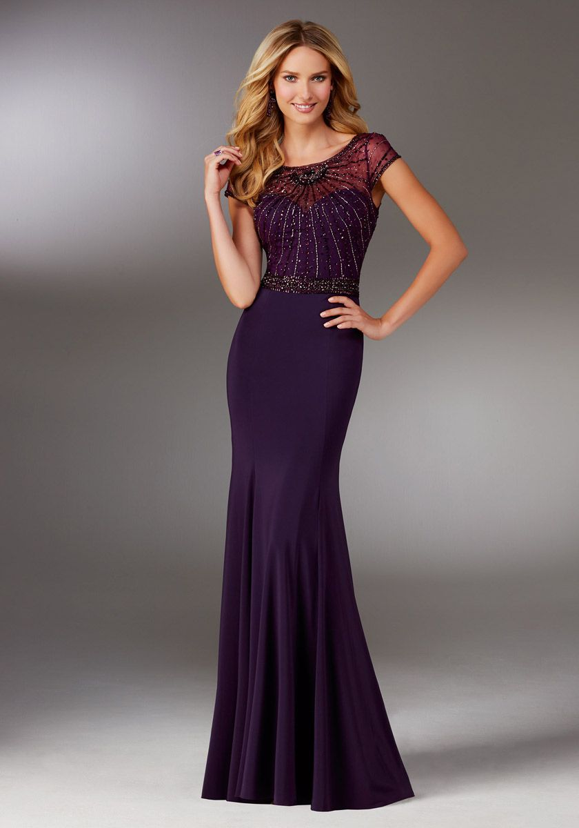 Mgny By Morilee 71515 Sheer Beaded Jersey Mob Gown French