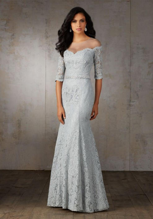 MGNY by Morilee 71521 Lace Gown with Off the Shoulder Look: French ...