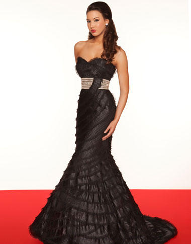 White Evening Dress on Mac Duggal Black   White Evening Dress 7153r Image