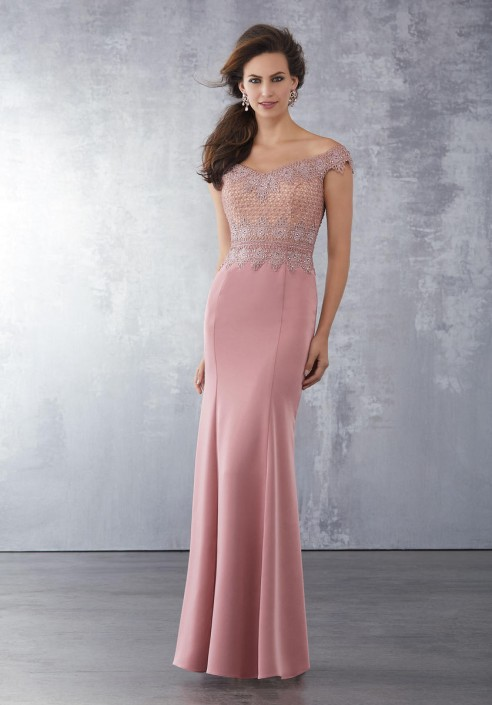 a74a7935df7 MGNY by Morilee 71720 Off Shoulder Mother of Bride Gown  French Novelty