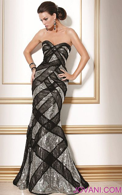 Jovani Black Silver Evening Dress 71786 French Novelty
