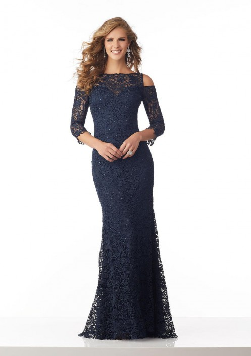 acdc87545b5 MGNY by Morilee 71814 Cold Shoulder Lace Mothers Gown  French Novelty