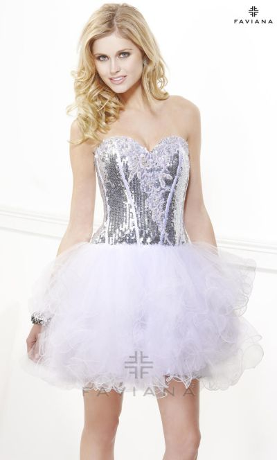 Faviana Silver White Tulle and Sequin Cocktail Dress 7190: French ...