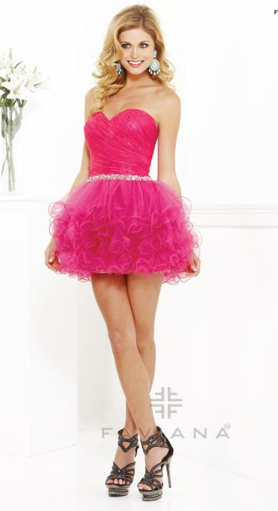 Faviana Hot Pink Short Organza Cocktail Dress 7191: French Novelty