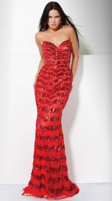 Jovani Strapless Chevron Sequin Formal Dress 71993 French Novelty