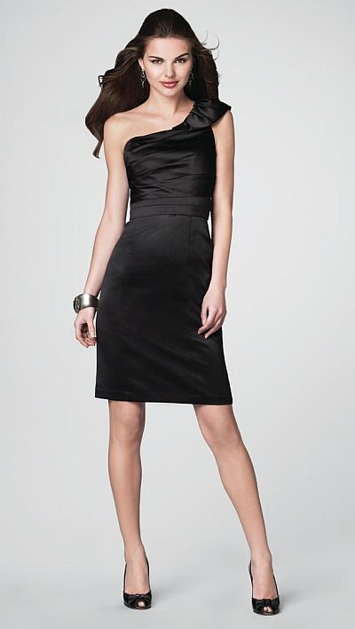 Size 10 Black Alfred Angelo Short Satin Bridesmaid Dress 7201 ...