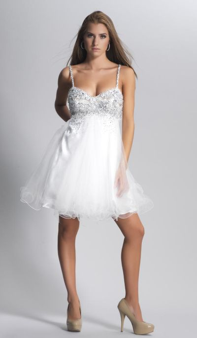 Dave and Johnny 7201 Short Party Dress with Flowy Skirt: French Novelty