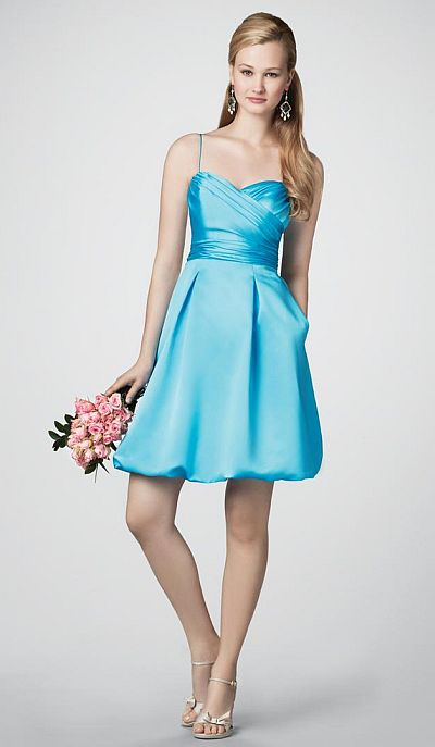 Alfred Angelo Short Satin Bubble Bridesmaid Dress 7202