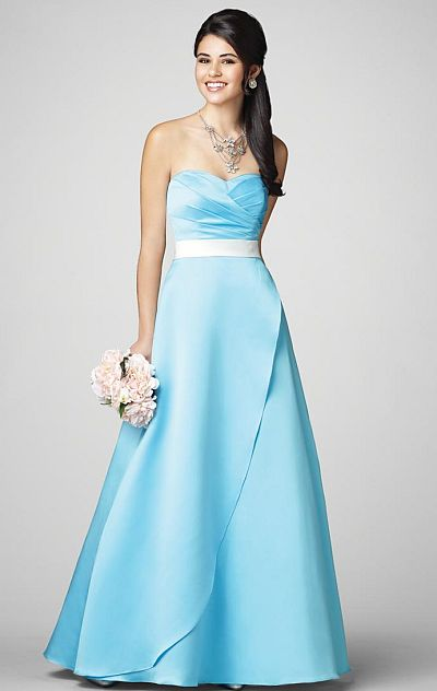 Alfred Angelo Two Tone Long Satin Bridesmaid Dress 7205: French ...