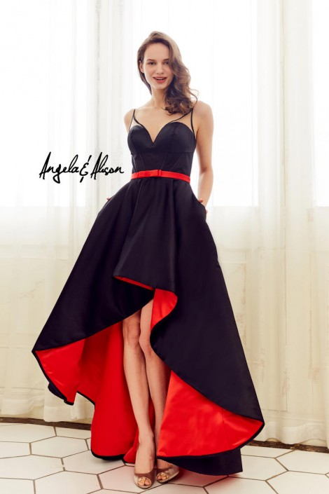 Angela and Alison 72058 High Low Contrast Lining Gown: French Novelty