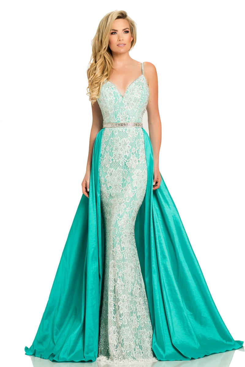 Johnathan Kayne 7242 Stretch Lace Gown With Overskirt