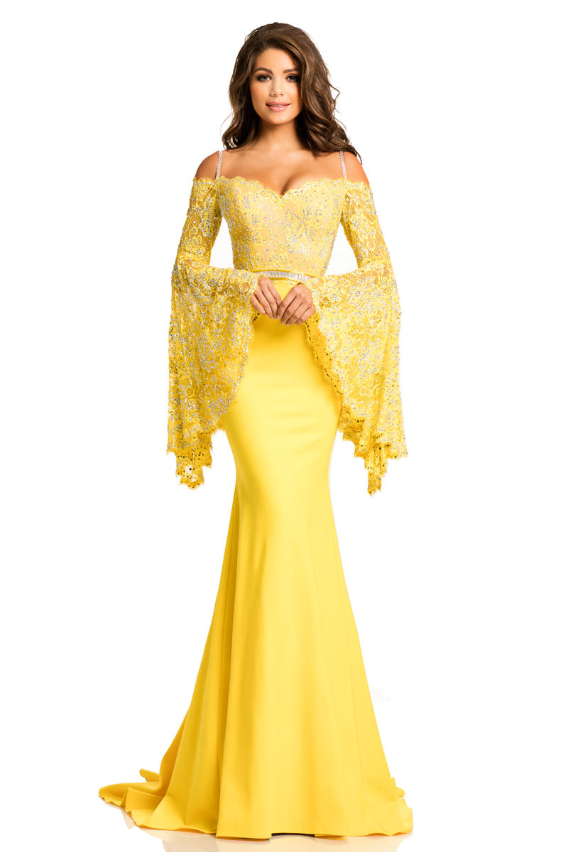 Johnathan Kayne 7244 Stretch Lace Angel Sleeve Gown: French Novelty