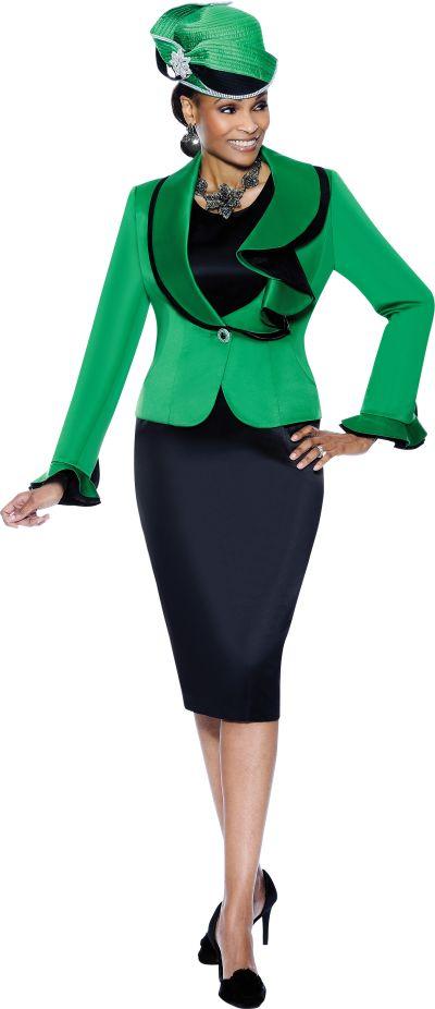 Terramina 7285 Womens Emerald Green Church Suit French