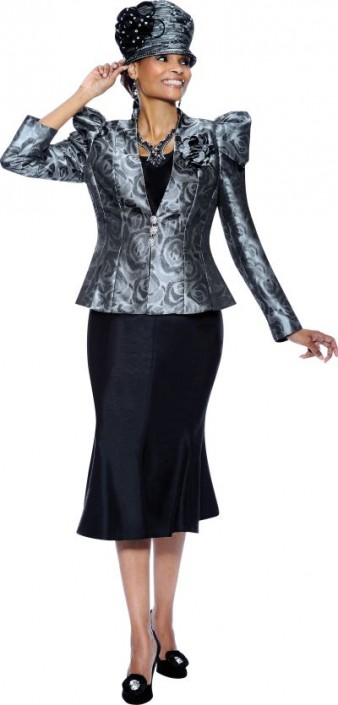 c9d674db53 Terramina 7289 Womens 3pc Black and Silver Church Suit  French Novelty
