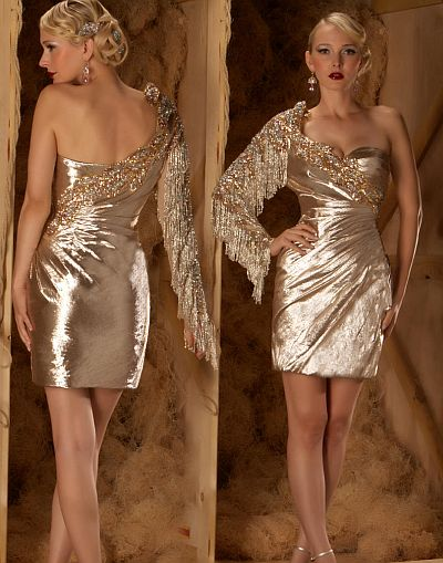MacDuggal Couture One Sleeve Gold Cocktail Dress 7297D: French Novelty