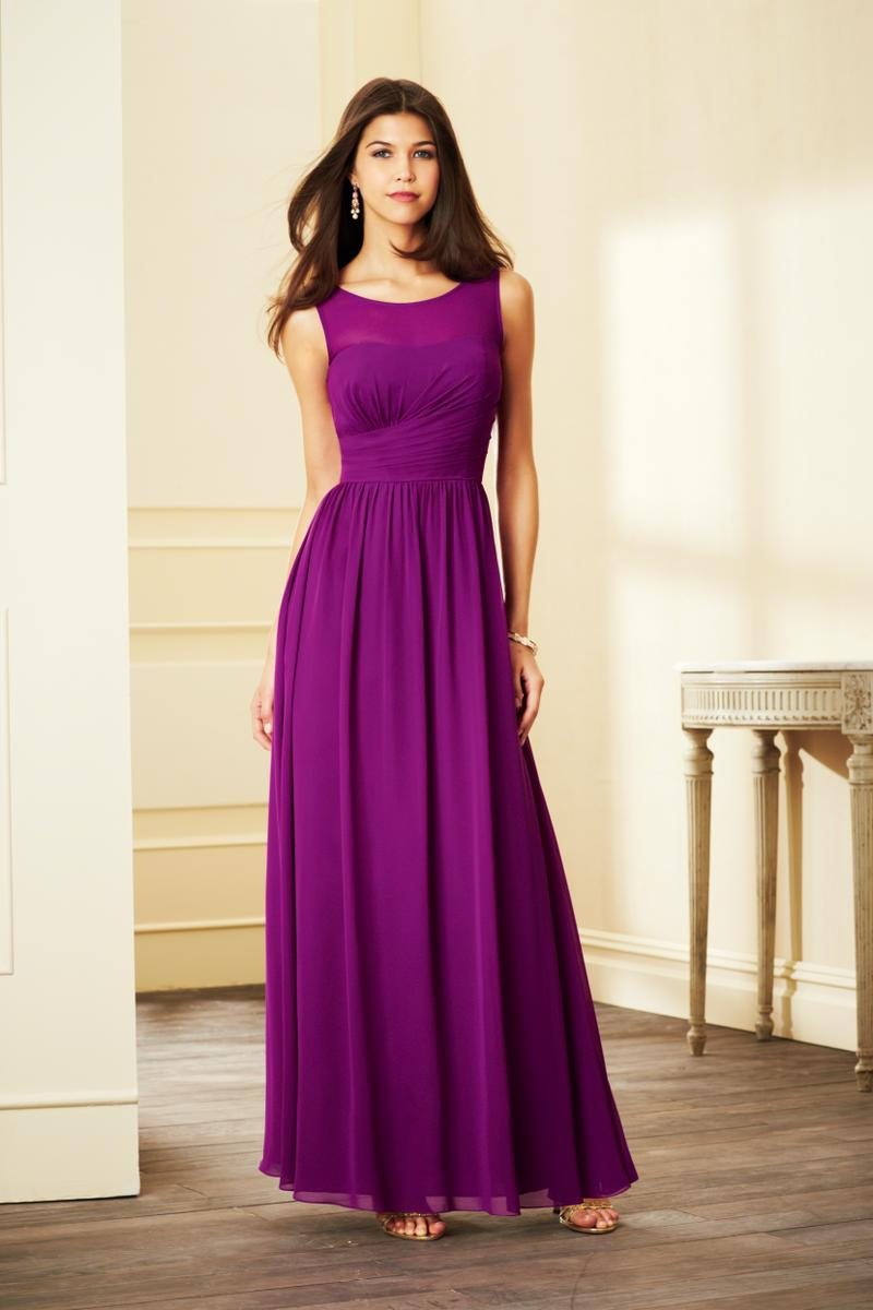 Alfred angelo 7298l sheer yoke long bridesmaid dress for Angelo alfred wedding dresses