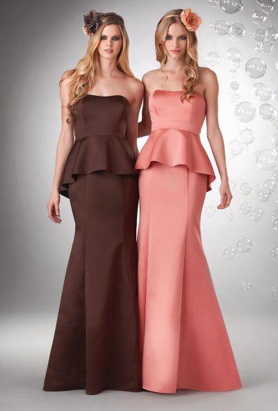 Bari Jay 730 Satin Peplum Bridesmaid Dress