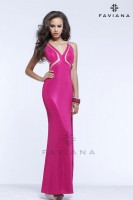 Faviana 7312 Laser Cut Jersey Gown image
