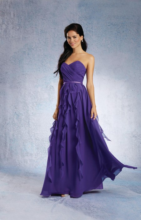 Size 8 Purple Alfred Angelo 7319L Long Chiffon Bridesmaid Dress ...