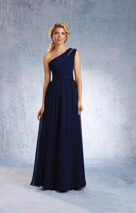 7a46ebcf242 Size 12 Navy Alfred Angelo 7322L One Shoulder Long Bridesmaid Dress  French  Novelty