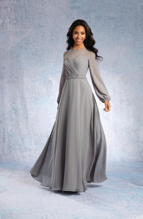 bedf2e4090b Alfred Angelo 7327l Long Sleeve Bridesmaid Gown French Novelty