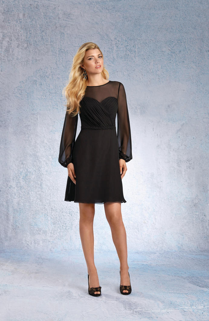 Alfred Angelo 7327S Long Sleeve Short Bridesmaid Dress: French Novelty