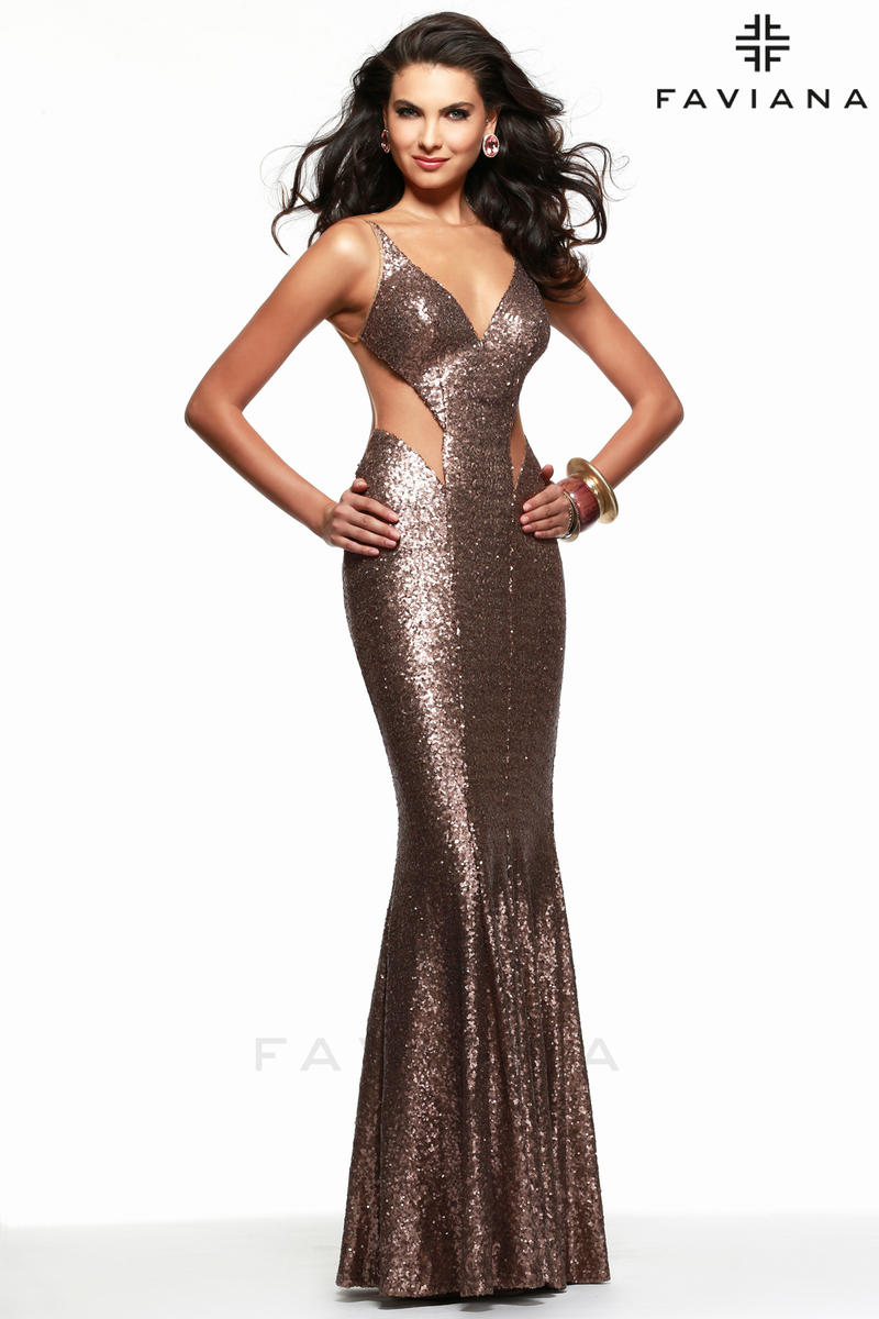 Faviana 7331 Sequin Mermaid Dress: French Novelty