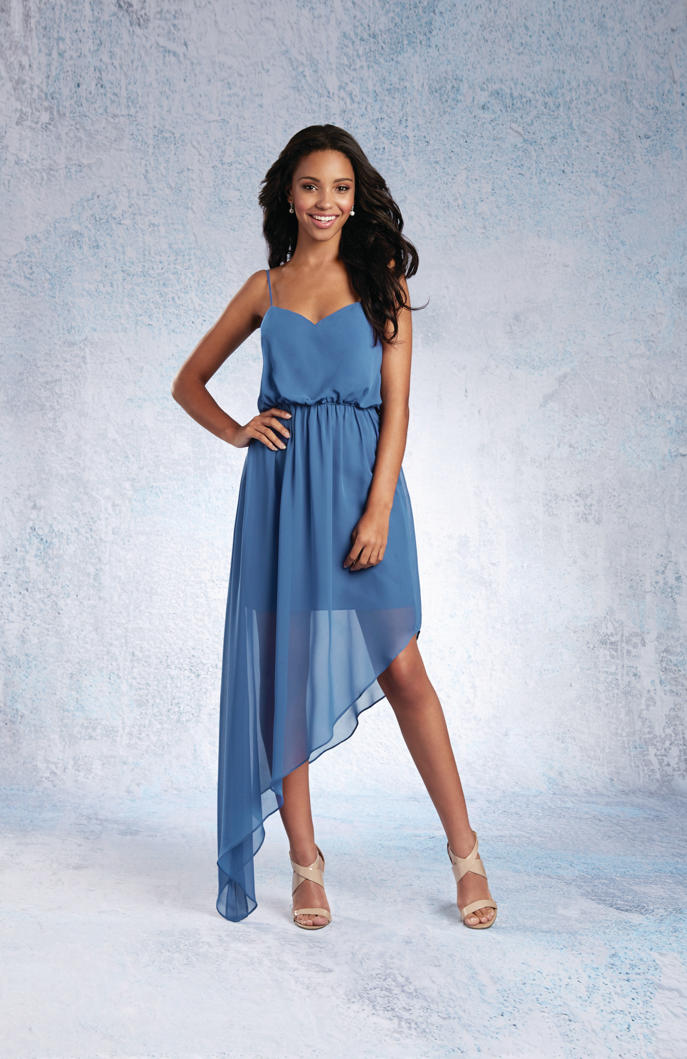 Size 10 Indigo Alfred Angelo 7334S Short Asymmetric Bridesmaid Dress ...