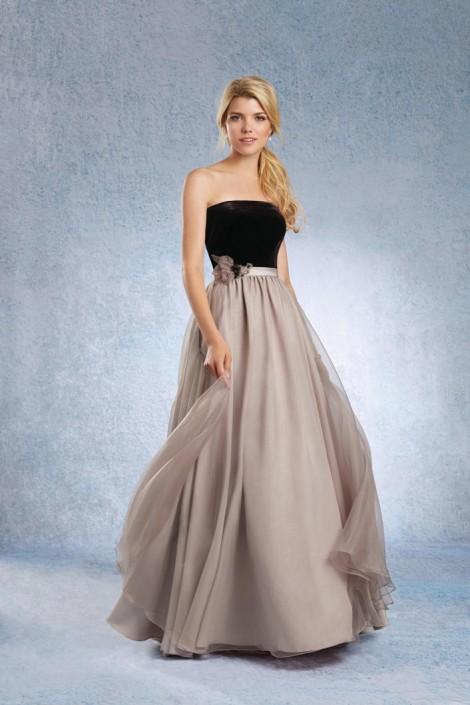 Size 12 Black Stone Alfred Angelo 7344l Long Velvet Bridesmaid Dress