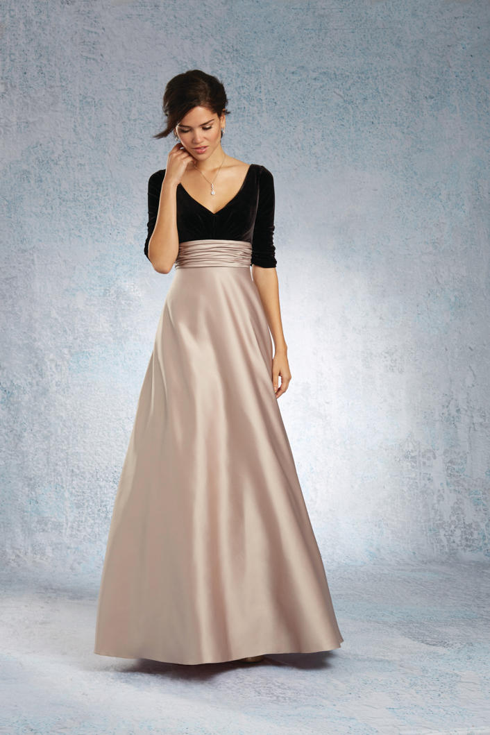 Alfred angelo 7345l elbow sleeve long bridesmaid dress for Immediate resource wedding dresses