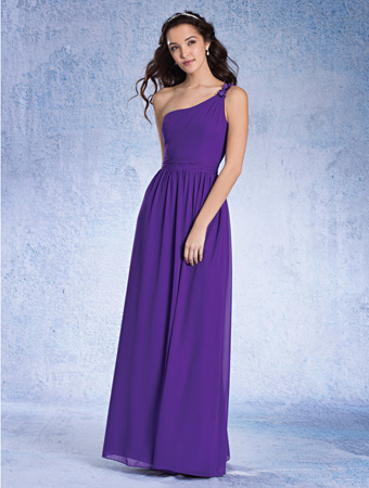 e27394bcc2f Alfred Angelo 7352L Long One Shoulder Bridesmaid Dress  French Novelty