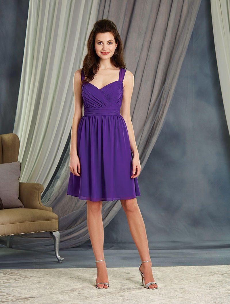 Alfred Angelo 7364S Sheer Straps Short Bridesmaid Dress: French ...