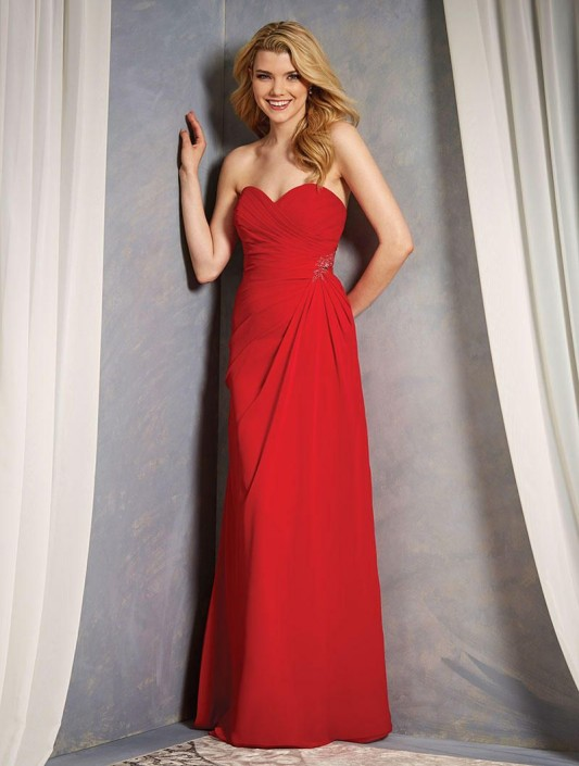 Size 10 Cherry Alfred Angelo 7367l Corset Back Long Bridesmaid Dress
