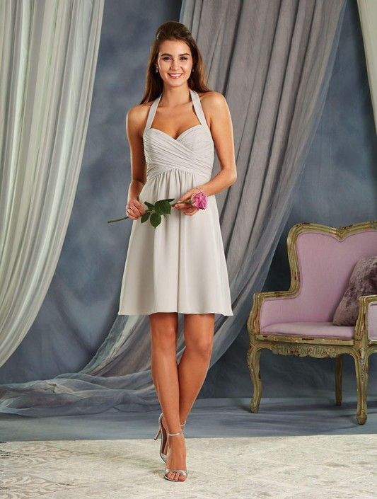 0796dee1c95 Size 14 Mist Alfred Angelo 7372S Draped Empire Short Bridesmaid Dress   French Novelty