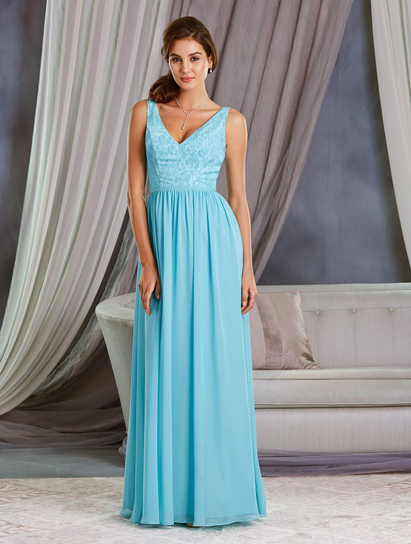 Alfred angelo 7377l long bridesmaid dress with white lace for Alfredo angelo wedding dresses