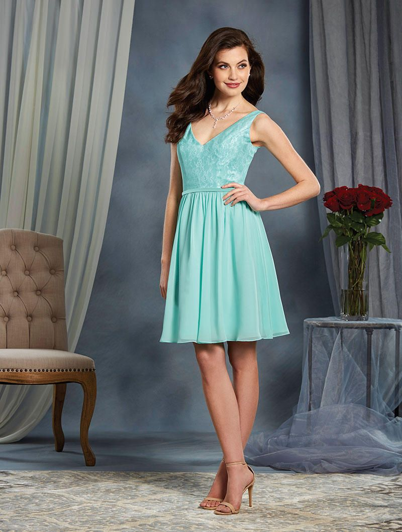 Alfred Angelo 7377S Short Bridesmaid Dress with White Lace: French ...