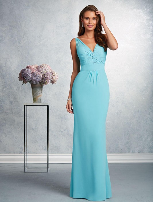 Alfred Angelo 7404 V Neck Chiffon Bridesmaid Dress: French Novelty