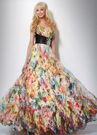 Jovani Colorful Abstract Print Evening Dress 7483 French